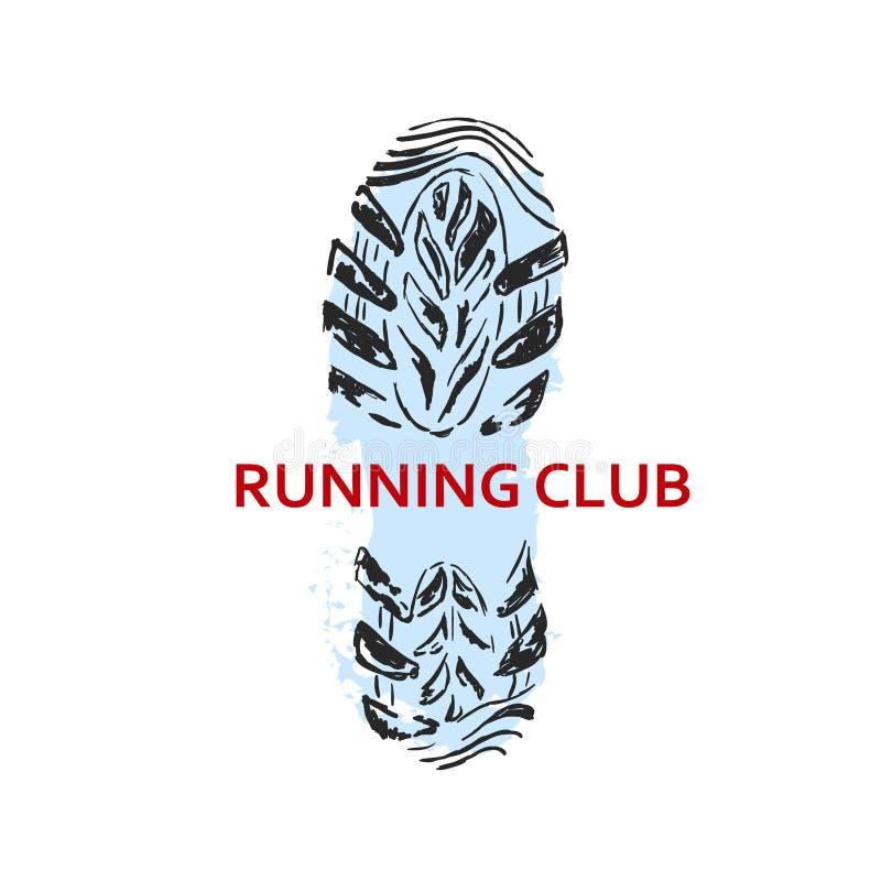 Pegada running do logotipo ilustração do vetor