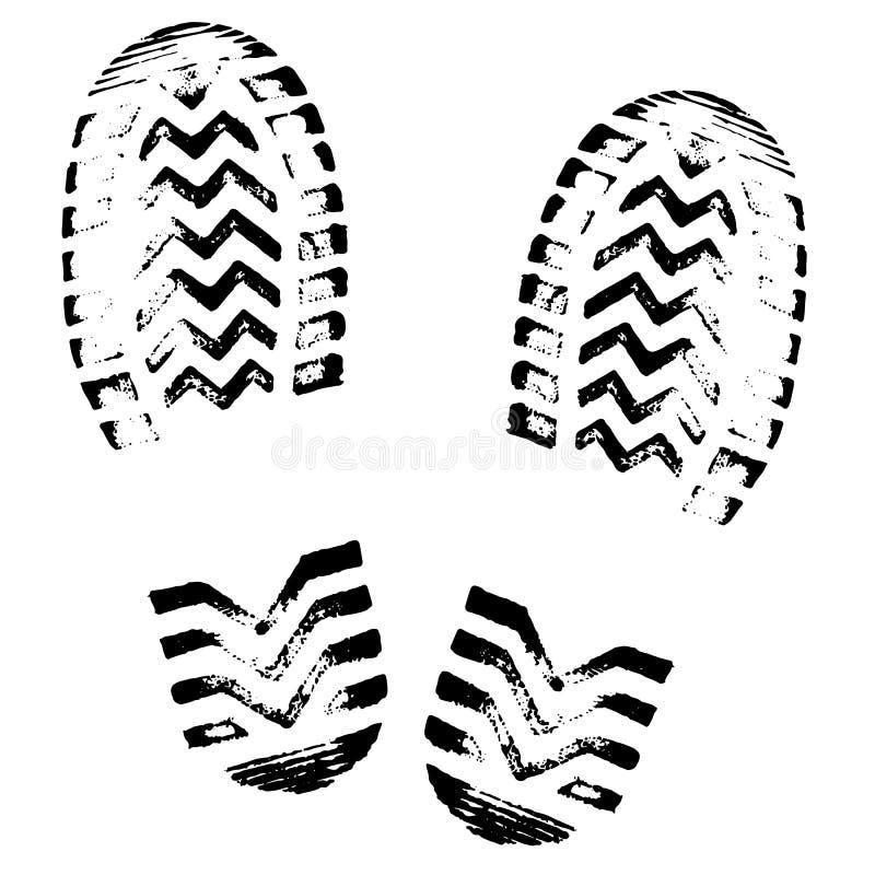 Pegada, vetor da silhueta Cópia das solas da sapata Passo da cópia do pé, botas, sapatilhas Ícone da impressão ilustração royalty free
