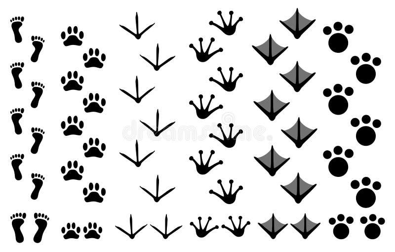 Pegadas animais ajustadas ilustração stock
