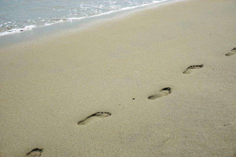 Pegadas descalças em um Sandy Beach pristine em Vietname tropical imagem de stock