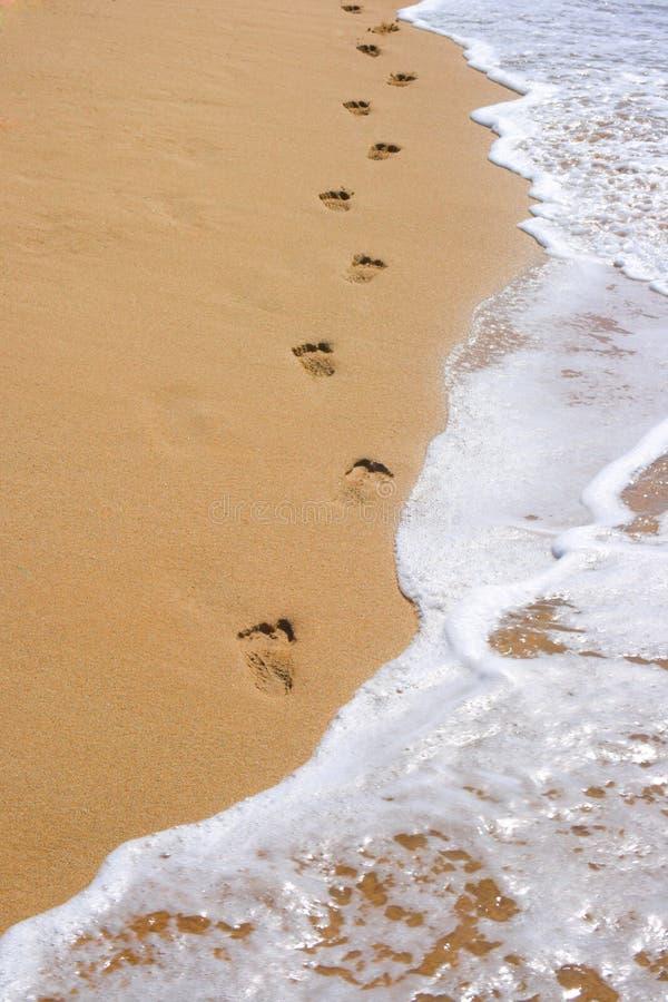 Pegadas na areia da praia imagens de stock