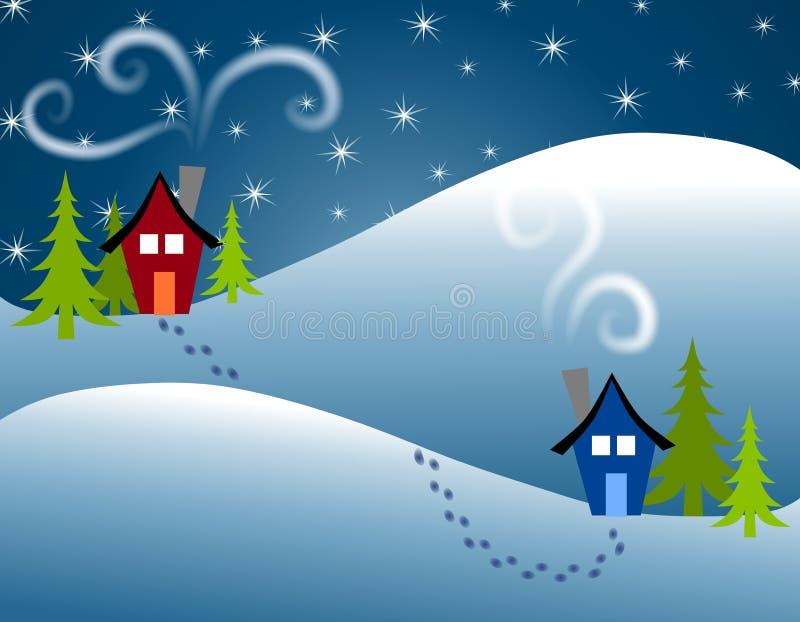 Pegadas na casa da neve a abrigar ilustração do vetor