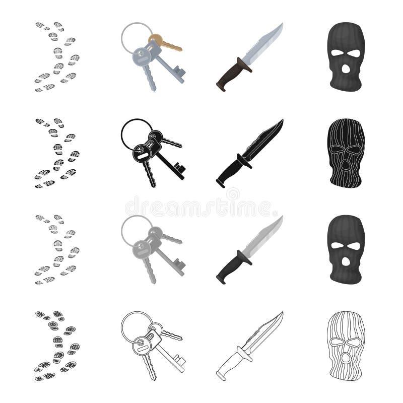 Pegadas na terra, um grupo de chaves de esqueleto, uma faca, uma máscara de um criminoso Ícones ajustados da coleção da prisão de ilustração do vetor