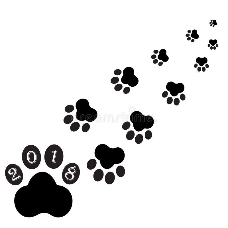 Pegadas pretas do cão ilustração do vetor