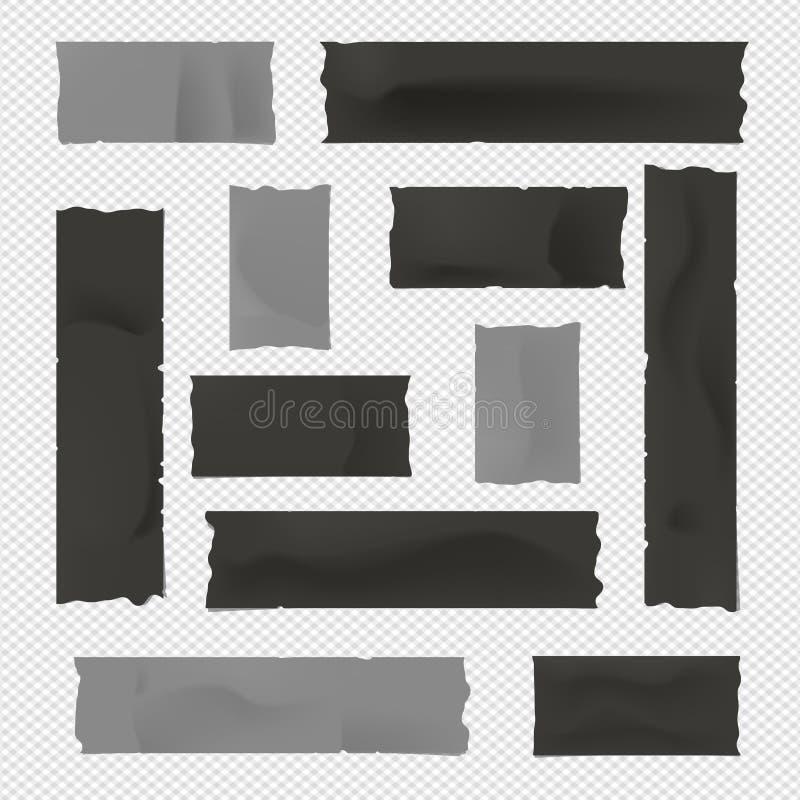 Pegamento negro y gris, pegajoso, enmascarando, cinta aislante, tiras de papel para el texto en fondo ajustado stock de ilustración