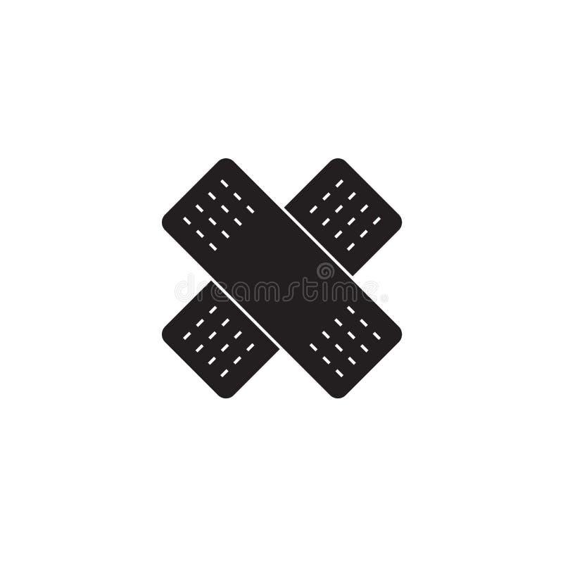 Pegamento que se pega, icono abierto del concepto del vector del negro de la herida Pegamento que se pega, ejemplo plano de la he stock de ilustración