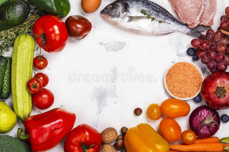 Pegan diet food on white table stock photos