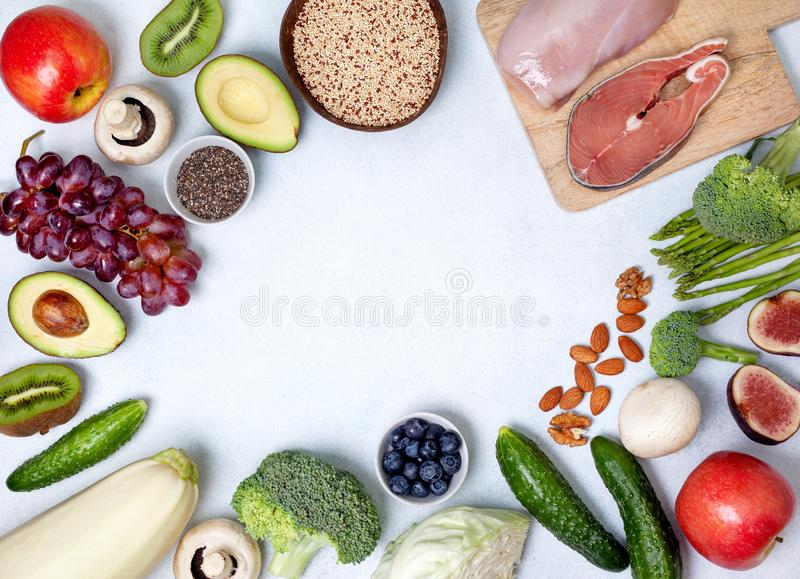Pegan diet products. Trendy pegan diet. pegan diet products : meat, fish, cereals, vegetables, nuts and berries. view from above stock photography