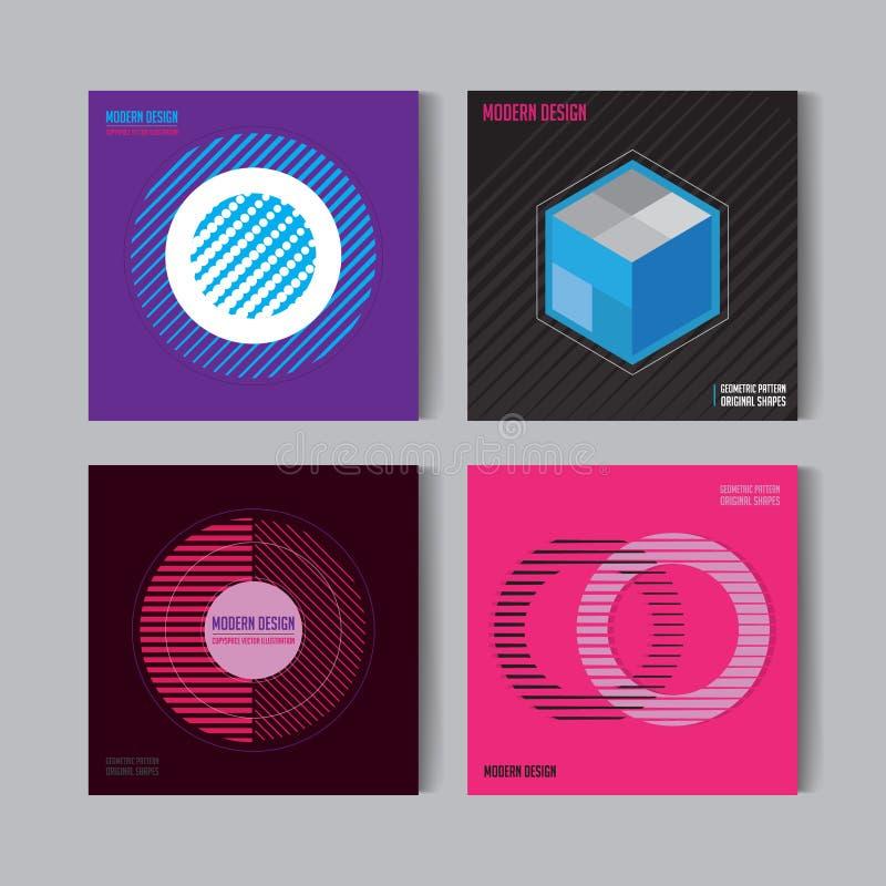 Pegas abstractas fijadas Fondos del vector de Art Graphic en estilo plano suizo retro Figura aislada, forma, icono, logotipo para ilustración del vector