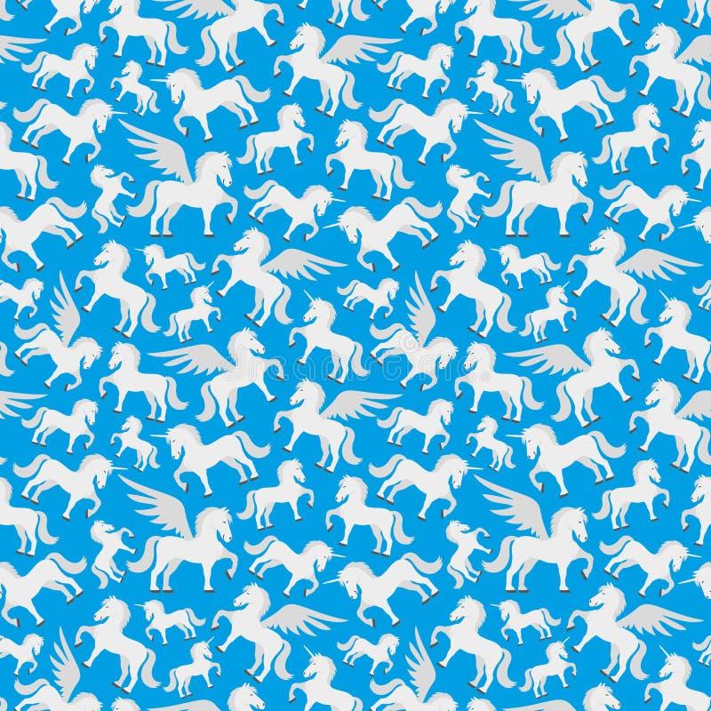 Pegaso lindo, unicornio y el caballo ilustración del vector