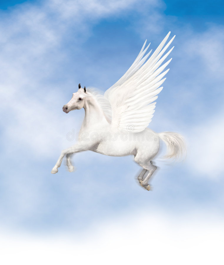 Pegasus. Flying with a blue cloudy sky