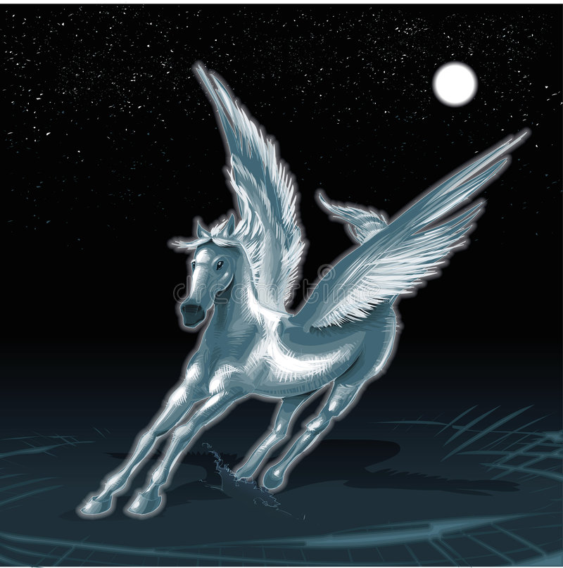 Download Pegasus stock vector. Image of moon, winged, pegasus, horse - 6891658