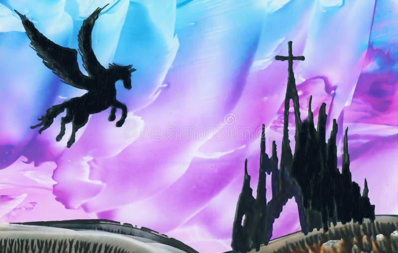 Pegasus above ruins royalty free stock image