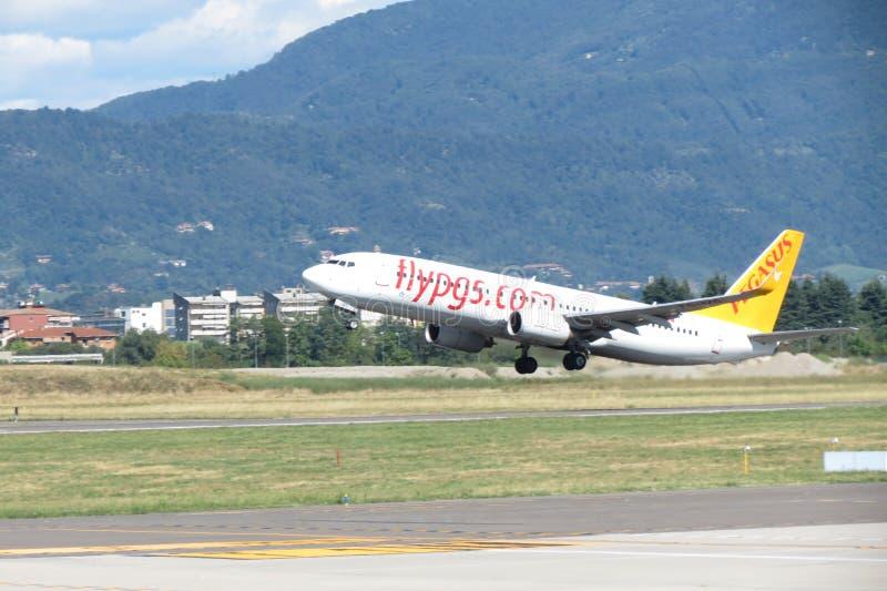 Pegasus aircraft taking off stock images