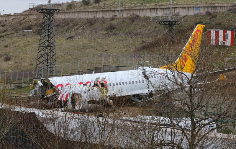 Pegasus Airlines PC2193 crash in Sabiha Gokcen Airport, Istanbul, Turkey stock photography