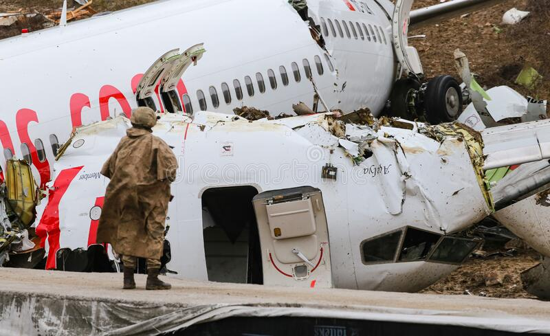 Pegasus Airlines PC2193 crash in Sabiha Gokcen Airport, Istanbul, Turkey royalty free stock images