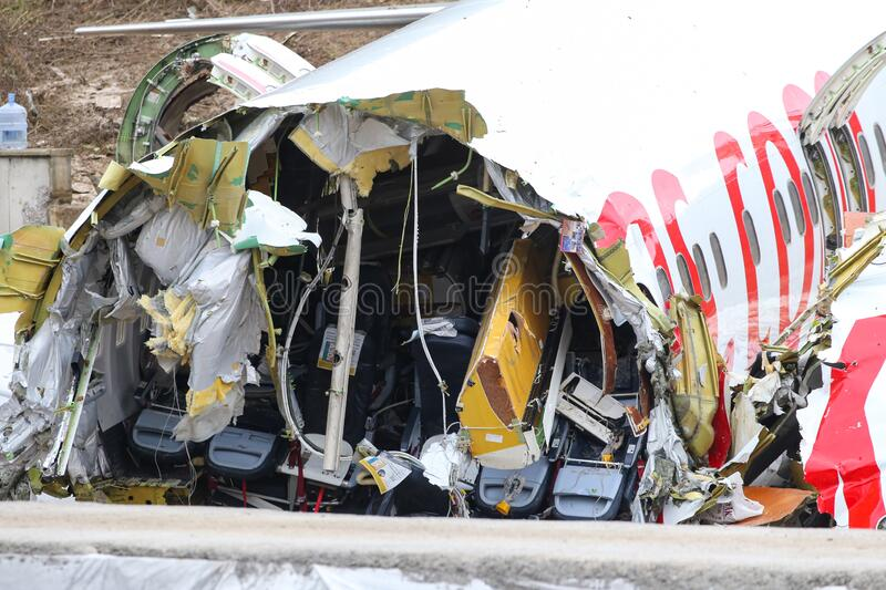 Pegasus Airlines PC2193 crash in Sabiha Gokcen Airport, Istanbul, Turkey royalty free stock image