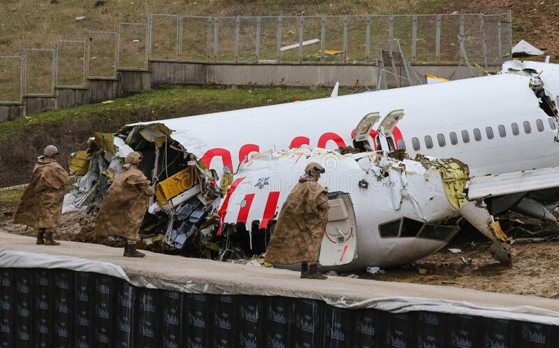 Pegasus Airlines PC2193 crash in Sabiha Gokcen Airport, Istanbul, Turkey stock photos