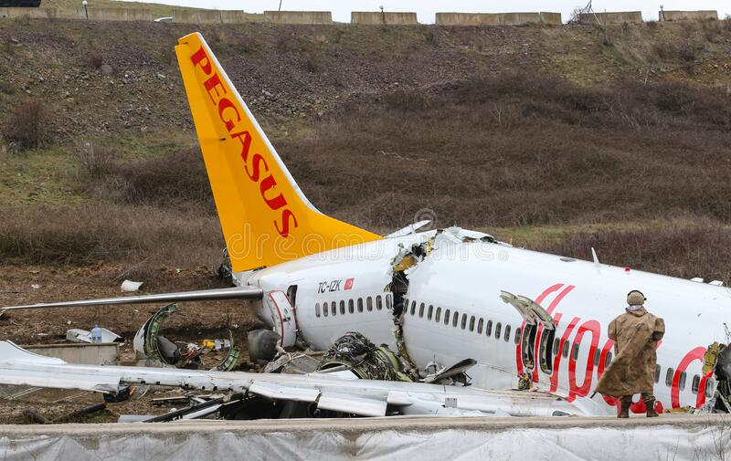 Pegasus Airlines PC2193 crash in Sabiha Gokcen Airport, Istanbul, Turkey stock images