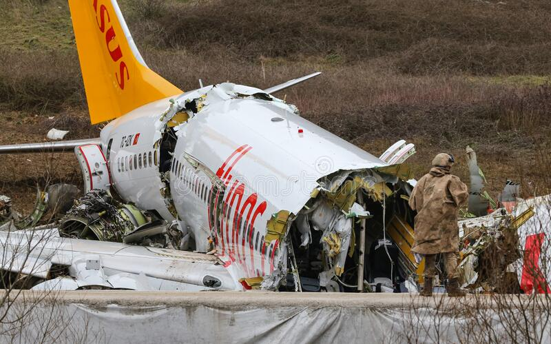 Pegasus Airlines PC2193 crash in Sabiha Gokcen Airport, Istanbul, Turkey stock image