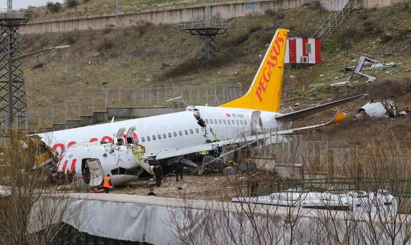 Pegasus Airlines PC2193 crash in Sabiha Gokcen Airport, Istanbul, Turkey royalty free stock photo