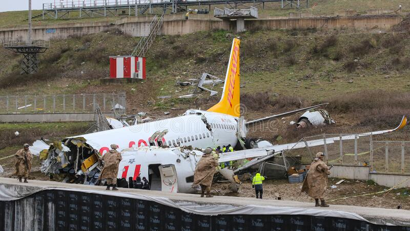 Pegasus Airlines PC2193 crash in Sabiha Gokcen Airport, Istanbul, Turkey royalty free stock photos