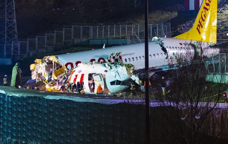 Pegasus Airlines plane crash in Istanbul, Turkey on 05 February 2020 royalty free stock image
