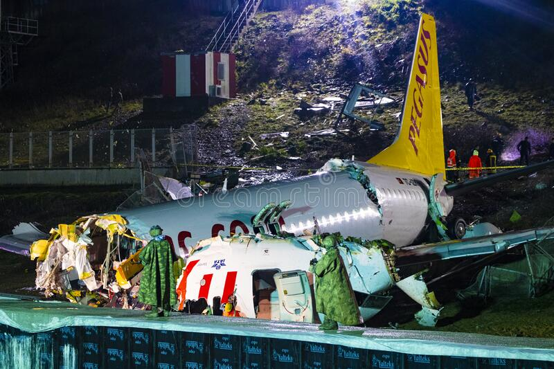 Pegasus Airlines plane crash in Istanbul, Turkey on 05 February 2020 royalty free stock photo