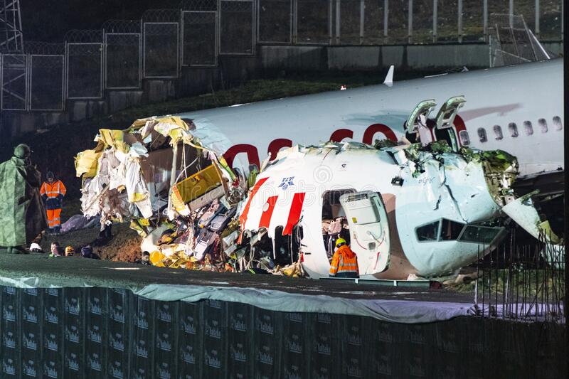 Pegasus Airlines plane crash in Istanbul, Turkey on 05 February 2020 royalty free stock photography