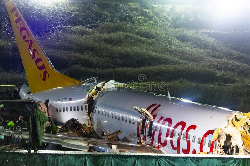Pegasus Airlines plane crash in Istanbul, Turkey on 05 February 2020 stock photos