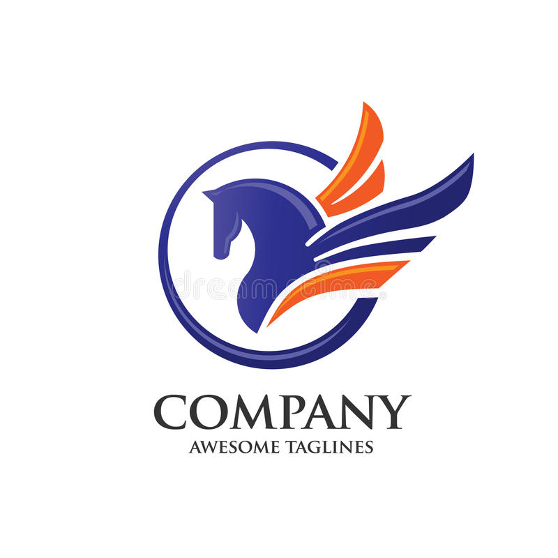Pegasus with circle logo concept stock illustration