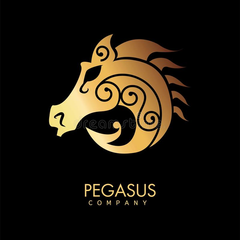 Pegasus company logo for professional riders with golden animal silhouette stock illustration