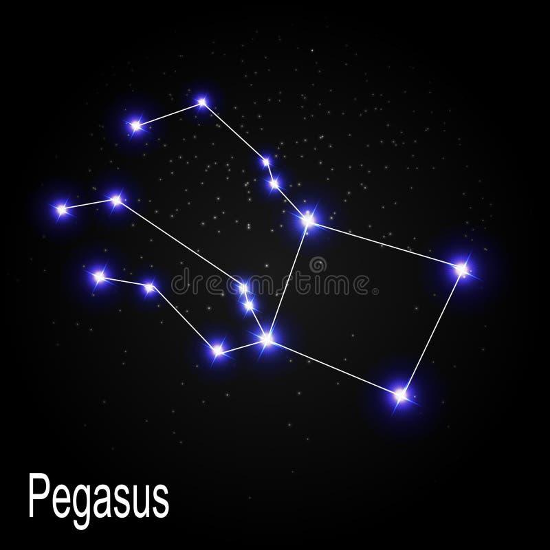 Pegasus Constellation with Beautiful Bright Stars stock illustration