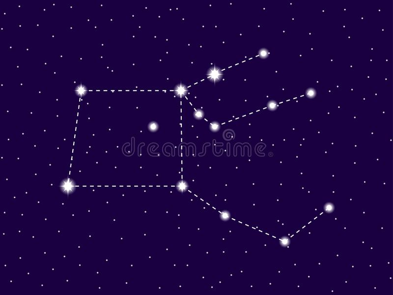 Pegasus constellation. Starry night sky. Cluster of stars and galaxies. Deep space. Vector royalty free illustration