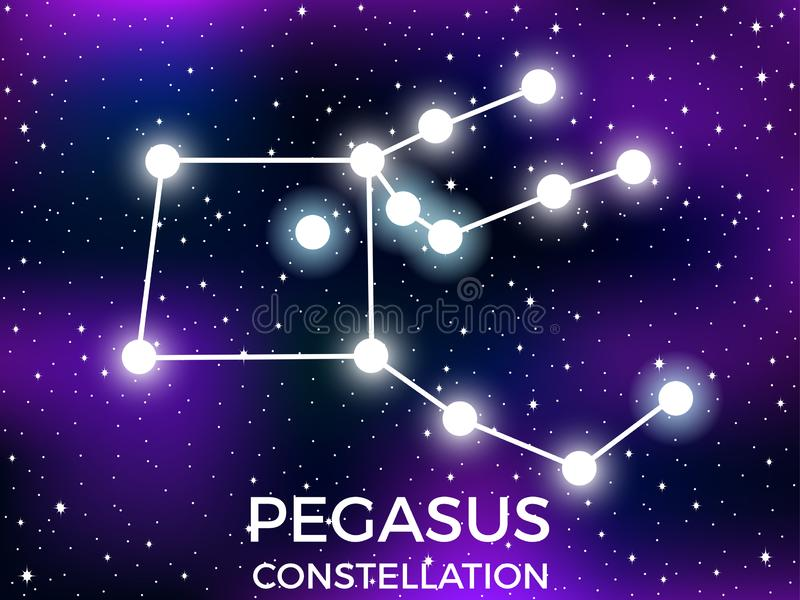 Pegasus constellation. Starry night sky. Cluster of stars and galaxies. Deep space. Vector. Illustration stock illustration