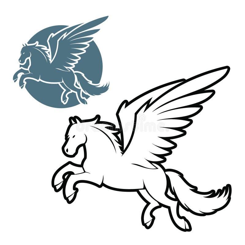 Pegasus contorneado stock de ilustración
