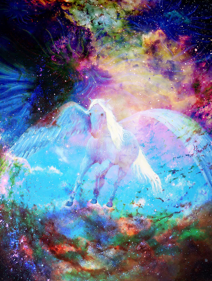 Pegasus in cosmic space. Painting and graphic design. royalty free illustration