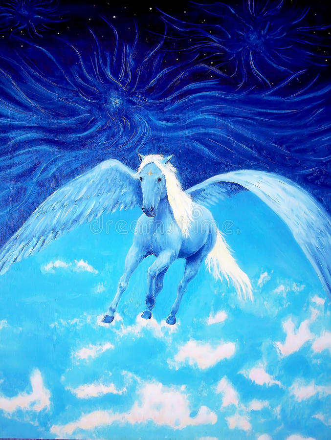 Pegasus in cosmic space. Painting and graphic design. stock photos