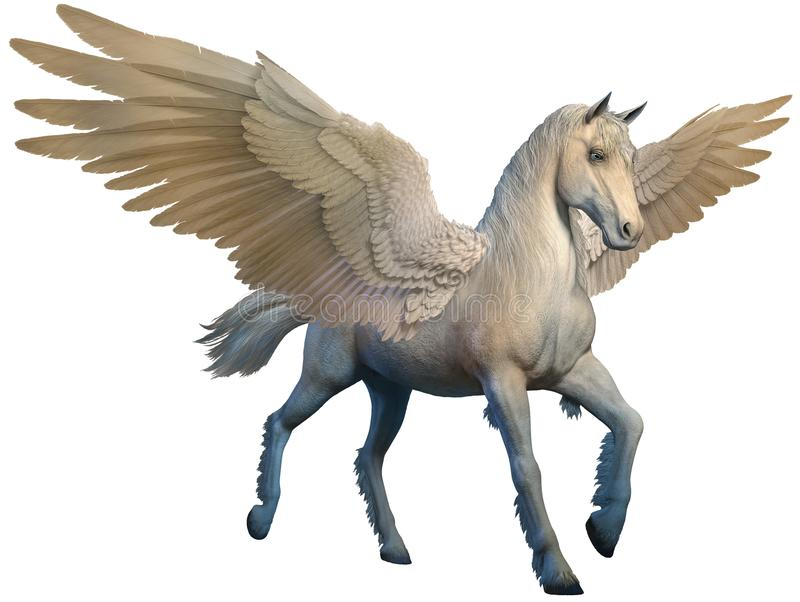Pegasus 3D illustration. White pegasus with outstretched wings 3D illustration royalty free illustration
