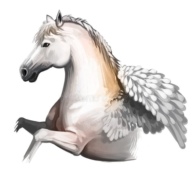 Pegasus digital konstillustration som isoleras på vit bakgrund Legendarisk forntida mytologisk crature, saga royaltyfri illustrationer