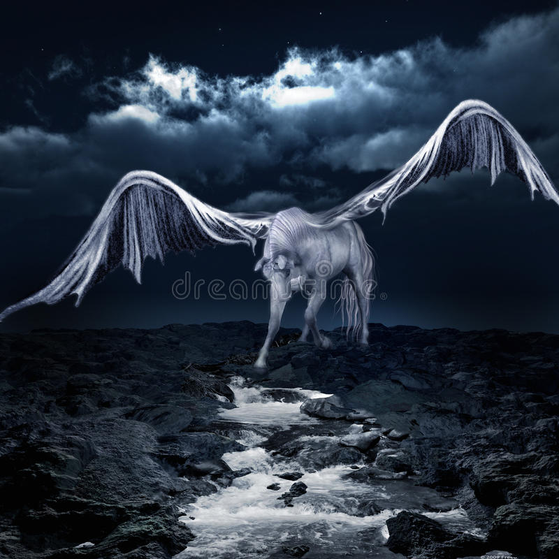 Pegasus drinking from a stream. White, winged horse drinking from a stream royalty free illustration