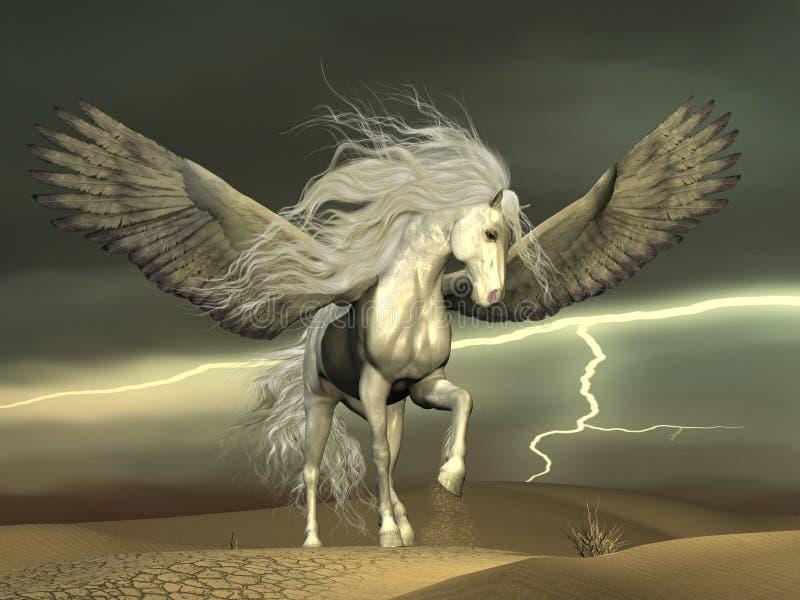 Pegasus e céus escuros ilustração royalty free