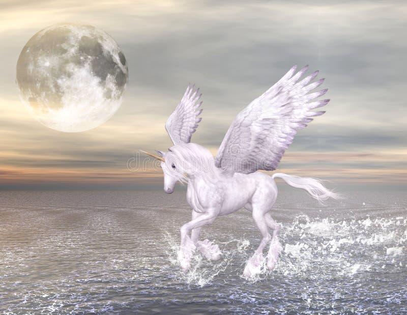 Pegasus em um seascape maravilhoso ilustração royalty free