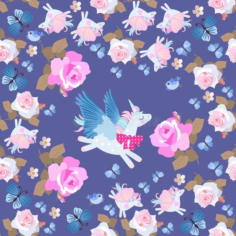 Pegasus engraçado e unicórnios de voo - borboletas entre flores cor-de-rosa em escuro - fundo azul Teste padr?o sem emenda ilustração royalty free