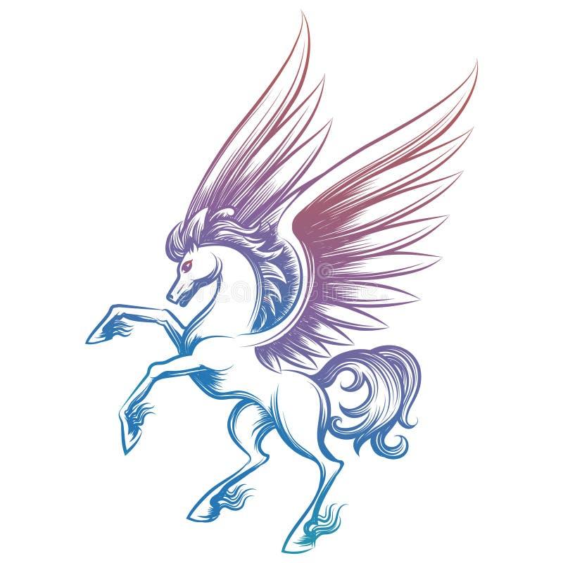 Pegasus esboçado colorido isolado no branco ilustração do vetor