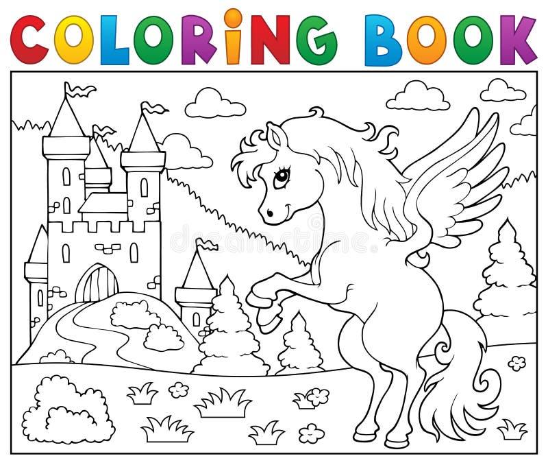 Pegasus för färgläggningbok near slott royaltyfri illustrationer