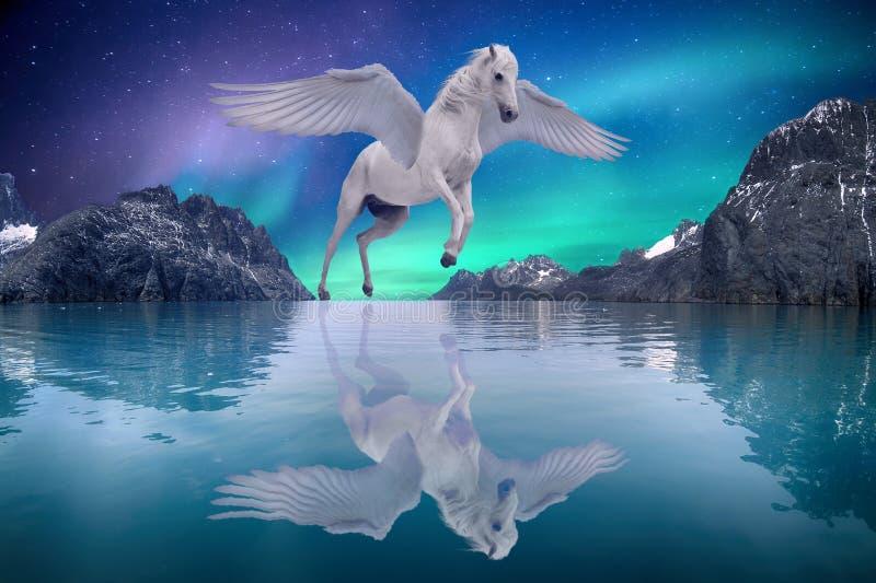 Pegasus gevleugeld legendarisch wit paard die met uitgespreid vleugels dromerig landschap vliegen stock foto