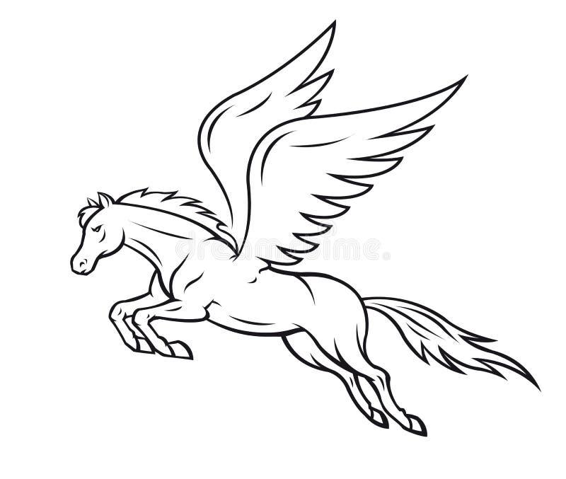 Pegasus häst royaltyfri illustrationer