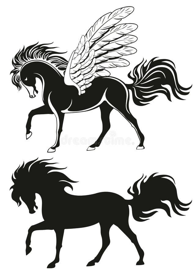 Pegasus ha traversato il cavallo volando royalty illustrazione gratis