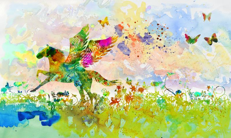 Pegasus in het struikgewas stock illustratie